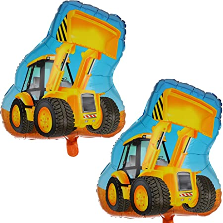 8 Pcs Truck and Bulldozer Shaped Foil Balloons and 40 Pcs Construction Themed Balloons Kits for Kids Birthday Party HAPPY BIRTHDAY Banner Construction Party Supplies