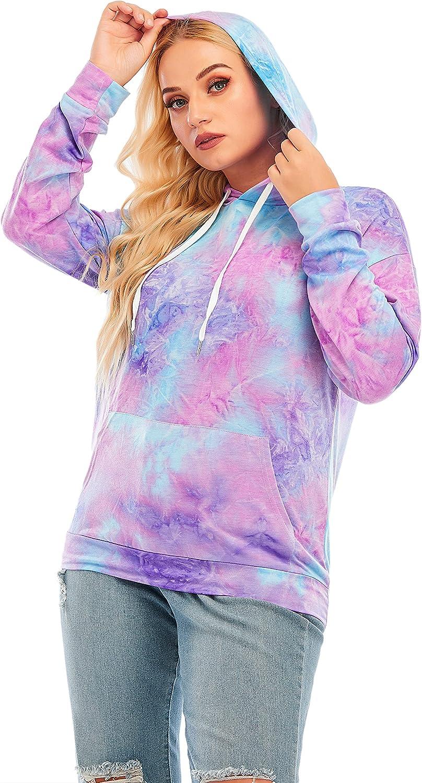 Xdjstas Womens Tie Dye Sweatshirt Hoodies Plus Size Long Sleeve Pullover Loose Printed Tops With Pockets