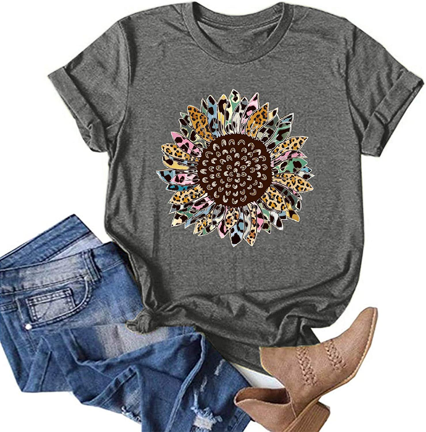 AODONG Short Sleeve Tops for Women, Womens Summer Casual Loose Fit Crewneck Graphic Tees Tunics Blouses Tops T Shirts