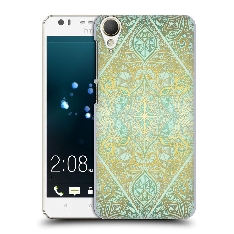 うまれたもつれ電気技師オフィシャル Micklyn Le Feuvre ミント&ゴールド フローラル?パターン HTC Desire 10 Lifestyle 専用ハードバックケース