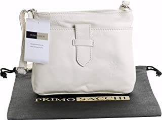 Primo Sacchi® Ladies Italian Soft Leather Hand Made Small Strap Fronted Triple Compartment Adjustable Strap Cross Body or Shoulder Bag Handbag. Includes a Branded Protective Storage Bag.