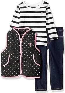 U.S. Polo Assn. 女童针织上衣,背心和裤子套装,霓虹粉色-6818