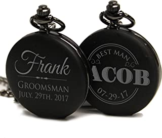 Engraved Monogrammed Quartz Black Pocket Watch - Custom Personalized Groomsmen Wedding Gifts - MPM Styles