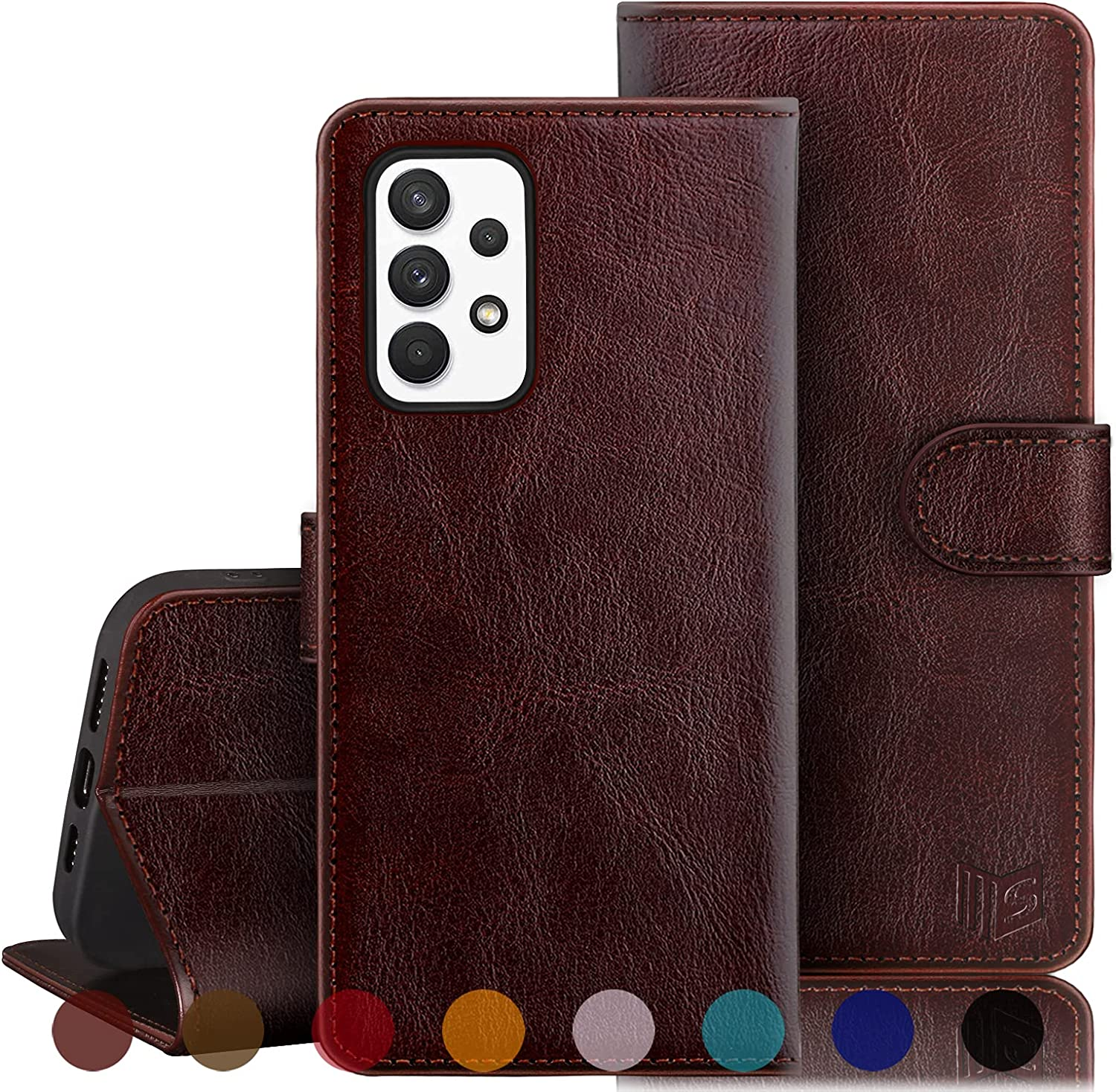 SUANPOT for Samsung Galaxy A32 Wallet case RFID Blocking Credit Card Holder, Flip Book Phone case Folio Cover for Women Men for Samsung A32 case Wallet Cellphone PU Leather case Brown
