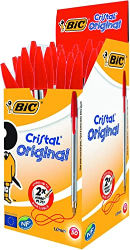 BIC Cristal Original Caja de 50 unidades - bolígrafos punta media (1,0 mm), color rojo - material oficina, material e...