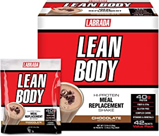 Lean Body MRP All-In-One Chocolate Meal Replacement Shake, 40g Protein, Whey Blend, 8g Healthy Fats EFA's & Fiber, 22 Vita...