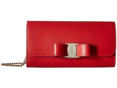 Salvatore Ferragamo Mini Vara Covertible Clutch (Lipstick) Handbags