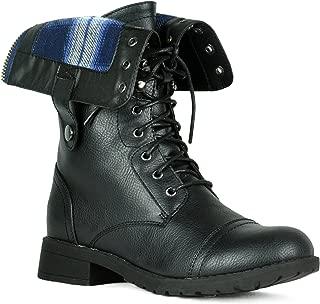 Women's Military Combat Lace up Buckle Mid Calf High Boots Waterproof Hi-Calf Rainboots