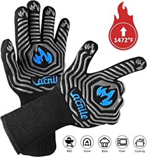 VACNITE BBQ Gloves, 1472℉ Heat Resistant Grill Gloves, 14 Inch Non-Slip Barbecue Glove for Smoker, Charcoal Grilling, Welding, Baking, Insulated Cooking Oven Mitts, Food Grade Silicone Potholder Glove