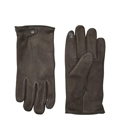 UGG Tabbed Splice Vent Leather Tech Gloves with Sherpa Lining (Charcoal) Extreme Cold Weather Gloves