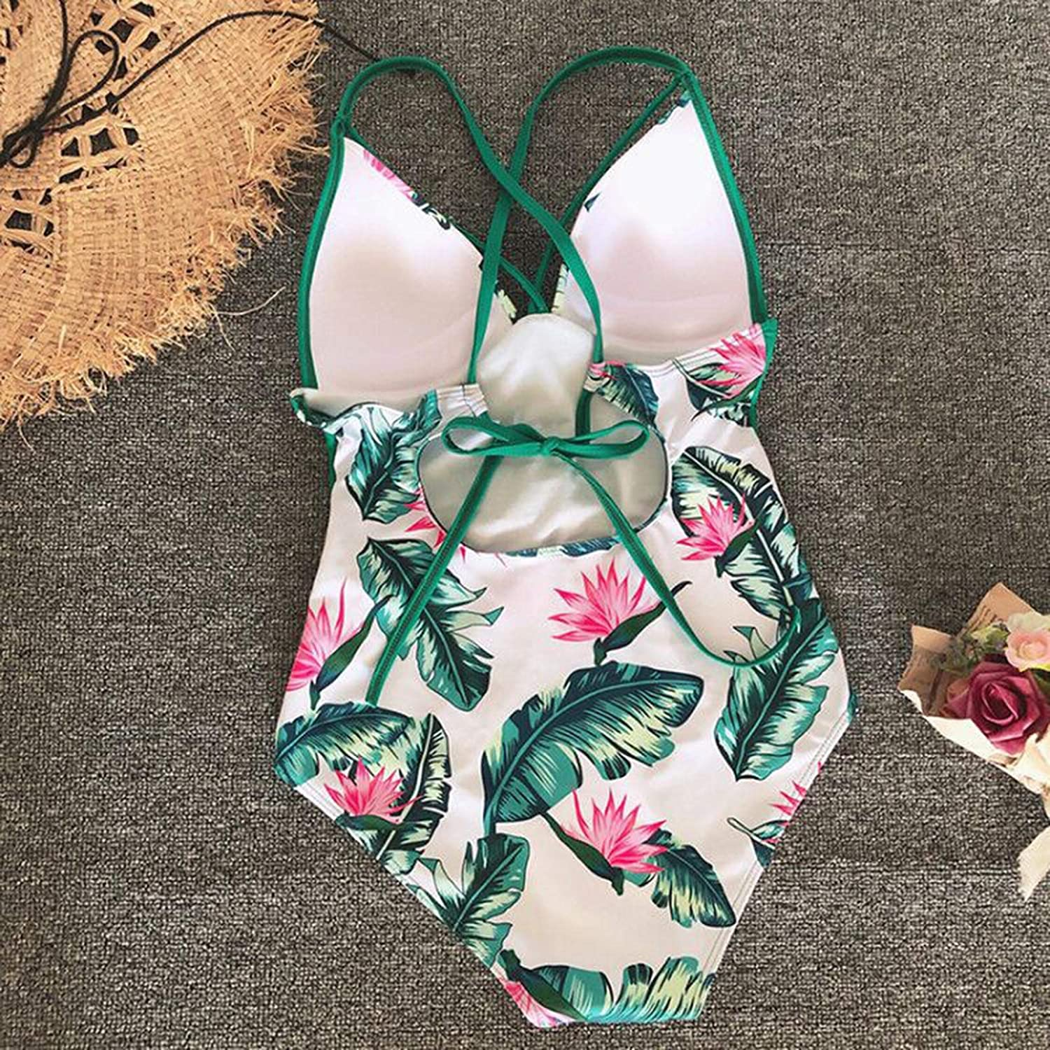 iCJJL Swimsuits for Women 1 Piece Bathing Suits Strap One-Piece Swimsuit Temperament Big Breast Swimming V-Neck Bikini (Small,Green)