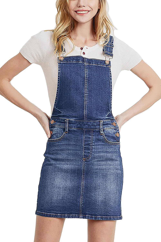 Fresno Mall Women's Cute Denim Jean Overall Short Skirt Dress mart