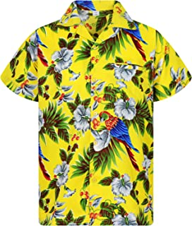 Funky Camisa Hawaiana Señores   XS-12XL   Manga Corta Bolsillo Delantero   Impresión de Hawaii   Cherry Parrot