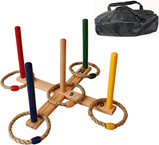 Oojami Ring Toss Game - Children's or Family Outdoor Quoits Game - Compact Carry Bag Included