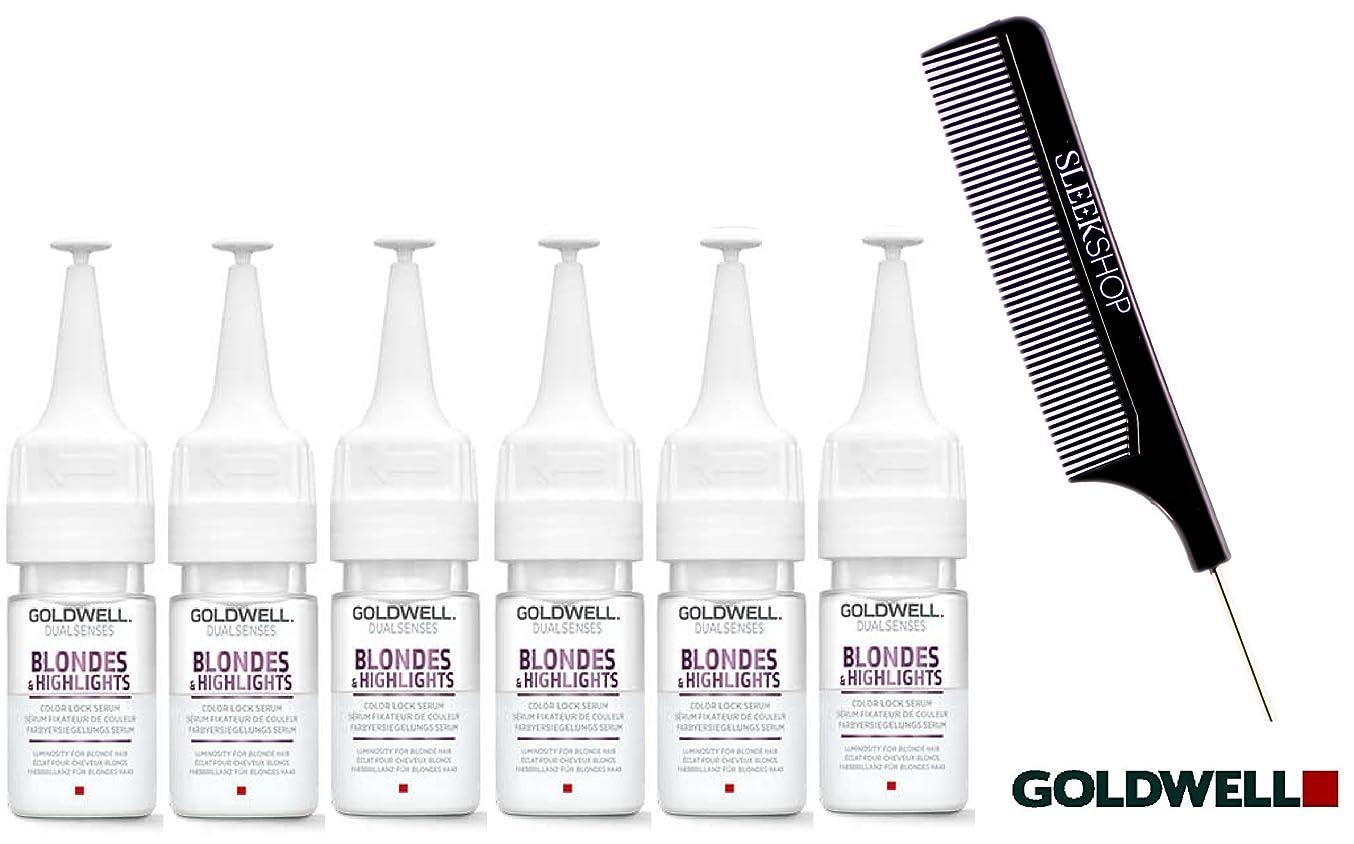 減少失速クライマックスDual Senses by Goldwell Goldwell Dualsenses BLONDES&ハイライトの色ロック血清、18ミリリットル(なめらかなスチールピンテールくし付き)/ 0.6オンスバイアル 6パック、金髪&ハイライト