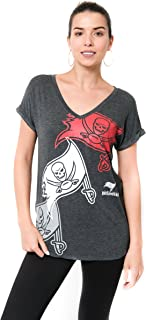 Ultra Game NFL Tampa Bay Buccaneers Women's V-Neck Soft Modal Tee Shirt, Gray Large