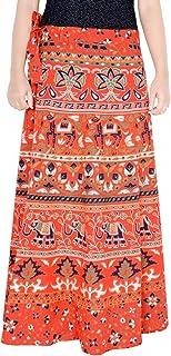 Rajvila Women's Cotton Printed Long 36 Inch Length Regular Wrap Around Skirt Colour (F_W36NT_0006)