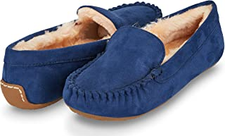 Floopi Womens Indoor/Outdoor Basic Memory Foam Moccasin Slipper W/Faux Fur Collar