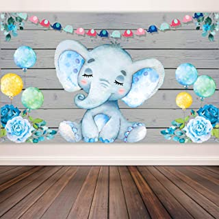 Blue Elephant Boy Baby Shower Decorations Supplies, Large Fabric Cute Baby Elephant Backdrop for Baby Shower Party Elephant Birthday Theme Watercolor Flower Cartoon Photo Booth Background Banner