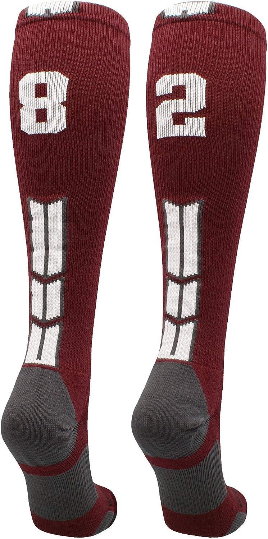 MadSportsStuff Maroon Super sale Player ID Custom Calf Sock The Milwaukee Mall Number Over