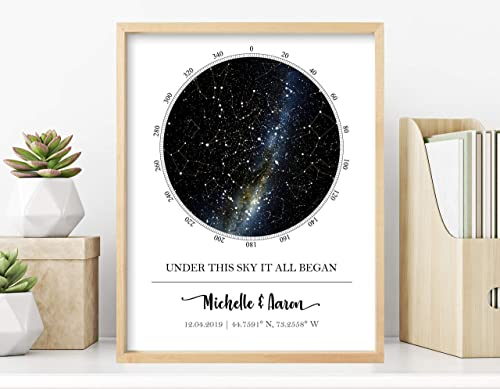 Custom Star Map - Personalized Star Map (Multiple Sizes - Unframed Star Prints, Star Constellation Map Wall Art, Grea...