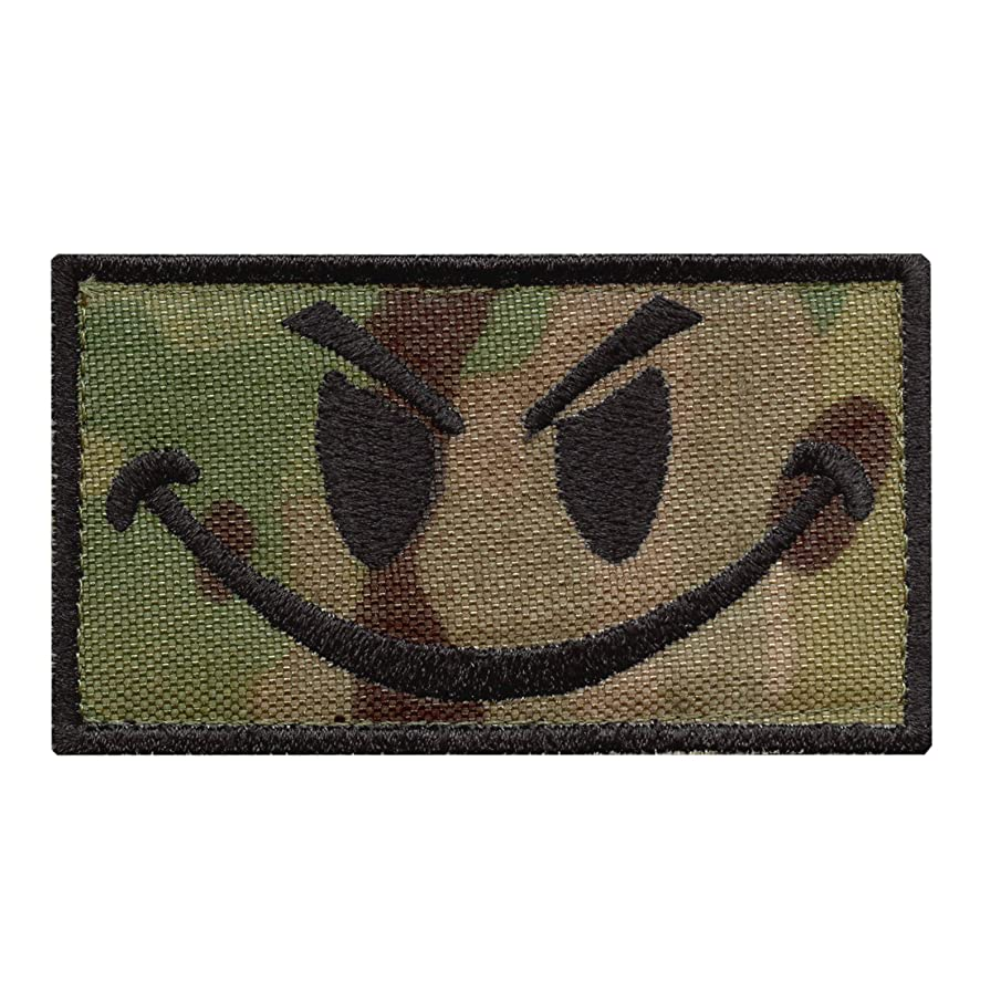 LEGEEON Multicam Smiley Evil Angry Green Morale Tactical Military Milspec Tactical ISAF Fastener Patch