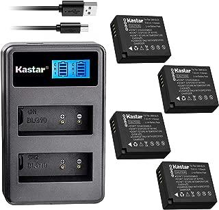 Kastar USB LCD Dual Charger and 4 Pack Battery for Panasonic DMW-BLE9 BLE9E BLE9PP DMW-BLG10 BLG10E DE-A98 Leica BP-DC15 and Panasonic Lumix DMC-TZ81 Lumix DMC-TZ85 Leica D-Lux Type 109 C-Lux Cameras