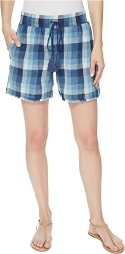 Stone Washed Indigo Plaid Pull-On Shorts w/ Tassel Cord