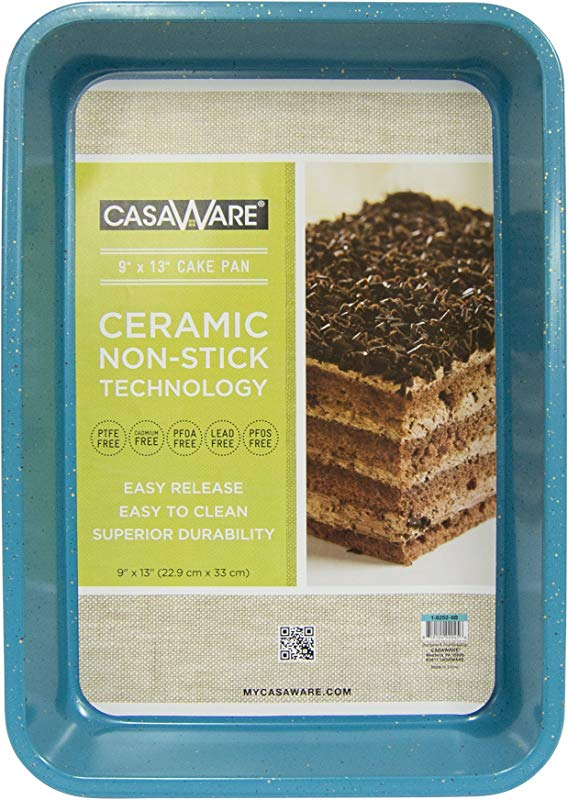 CasaWare Ceramic Coated NonStick 9 X 13 X 2 Inch Rectangular Cake Pan Blue Granite