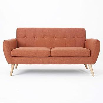 Christopher Knight Home Josephine Mid-Century Modern Petite Fabric Sofa, Burnt Orange / Natural