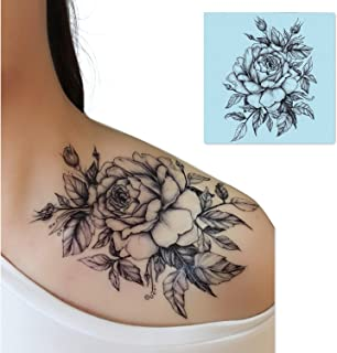 DaLin 4 Sheets Sexy Temporary Tattoos for Men Women Flowers Collection (Black Rose)