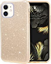 MILPROX iPhone 11 Case, Bling Sparkly Glitter Luxury Shiny Sparker Shell, Protective 3 Layer Hybrid Anti-Slick Slim Soft Cover for iPhone 11 6.1 inch (2019)-Gold