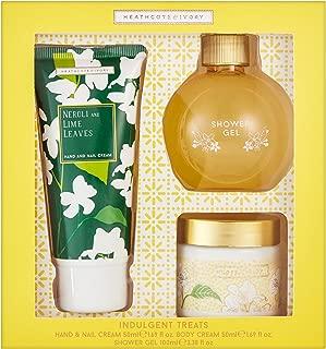 Heathcote & Ivory Indulgent Treats, Neroli and Lime Leaves (100ml Shower Gel, 50ml Body Cream, 50ml Hand Cream)