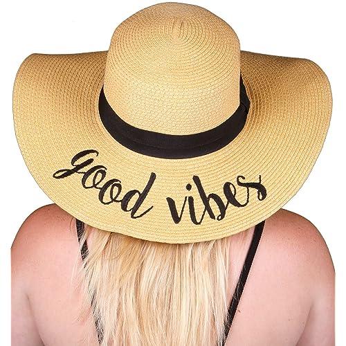 6b4f5e59 Funky Junque Women's Bold Cursive Embroidered Adjustable Beach Floppy Sun  Hat