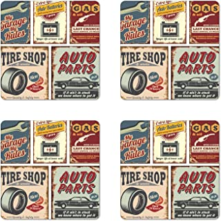 Lunarable 1950s Coaster Set of Four, Vintage Car Signs Automobile Advertising Repair Vehicle Garage Classics Servicing, Square Hardboard Gloss Coasters for Drinks, Multicolor