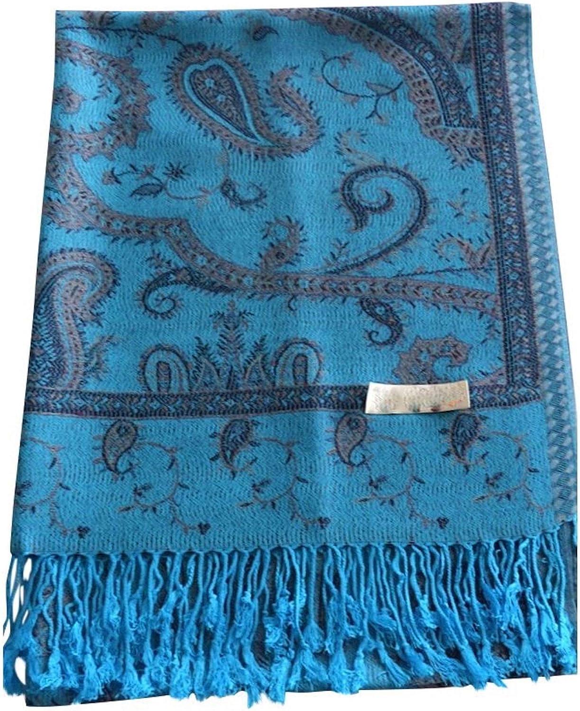 CJ Apparel Turquoise Kyelong Design 2 Ply Reversible Shawl Pashmina Seconds NEW