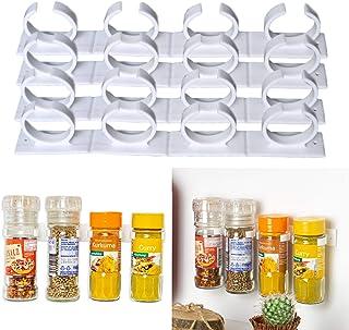 4 x 4 Organisateur d'herbes et d'épices pour 16 boîtes, Porte épices avec Clips pour Cuisine, Rack de Stockage pour boîtes...