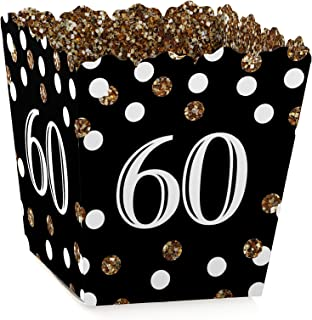 Adult 60th Birthday - Gold - Party Mini Favor Boxes - Birthday Party Treat Candy Boxes - Set of 12