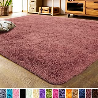 LOCHAS Luxury Velvet Bedroom Rugs Living Room Carpet, Fluffy, Super Soft Cozy, Bright Color, High Pile, Cute Area Rugs for Girls Room, Kids, Nursery and Baby (4x5.3 Feet, Deep Pink)