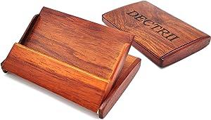 DECTRII Natural Wood Business Cards Holders Desktop Card Display Business Card Rack Organizer(2 Pack)