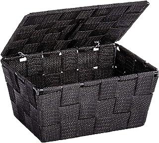 WENKO Panier de salle de bains avec couvercle Adria noir - panier de salle de bain, Polypropylène, 19 x 10 x 14 cm, Noir
