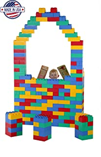 Jumbo Blocks 196 PC Ultimate Educational Learning Set with Jumbo Numbers, Letters, Animals & Facial Expression Stickers
