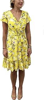 Women's Short Sleeve Wrap Front Ruffle Hem Floral Dress