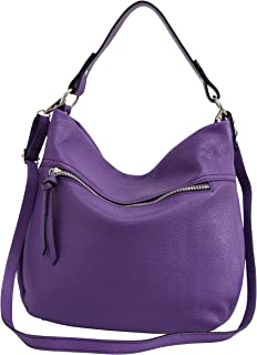 AmbraModa, borsa da donna in vera pelle, borsa a spalla, borsa a tracolla, borse a mano, borsa hobo GL031