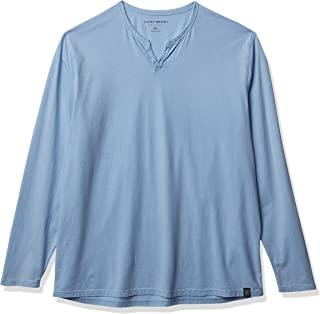 Lucky Brand Men's Long Sleeve Mineral Wash Button Notch Neck Tee Shirt