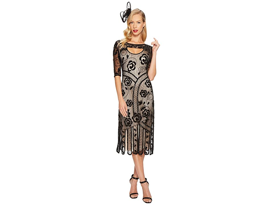 Unique Vintage Avalon Flapper Dress (Black/Nude) Women