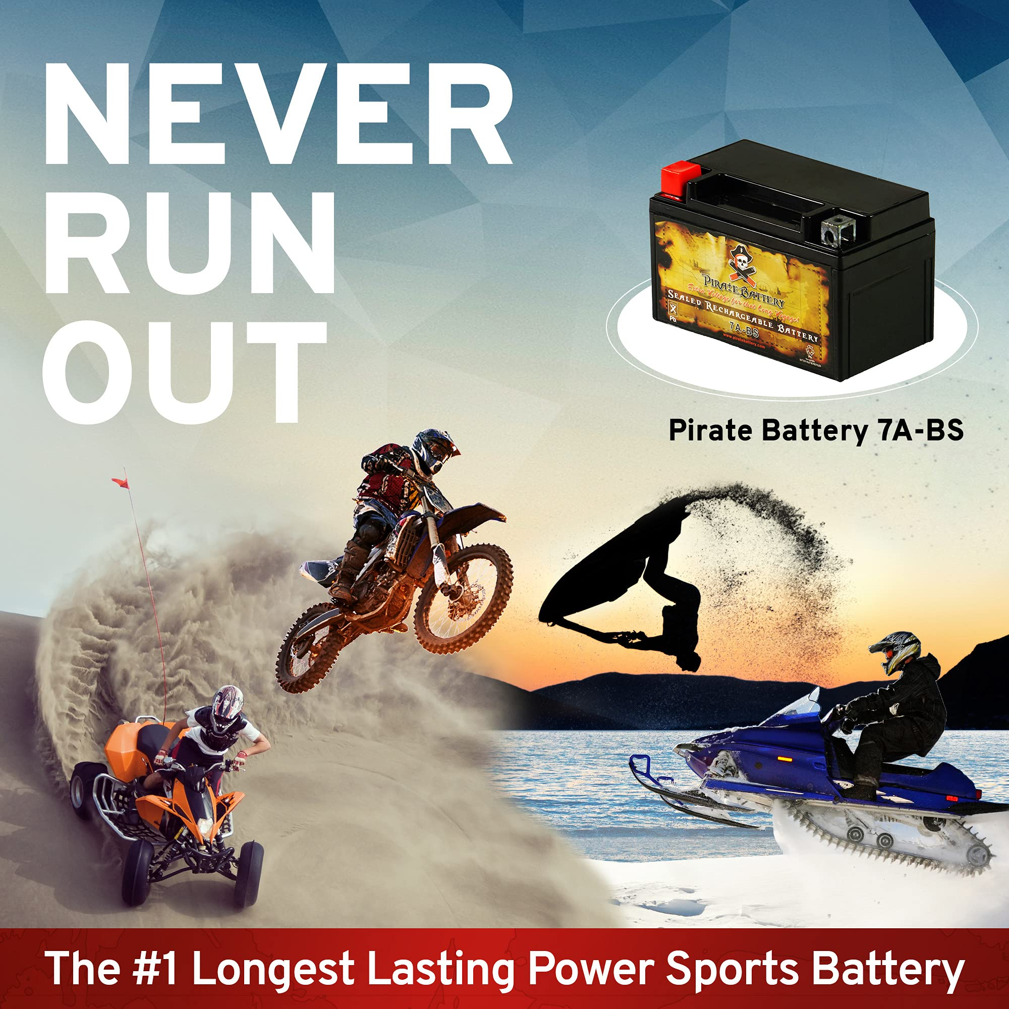 Rechargeable YTX20L-BS Motorcycle Battery - Replaces EBX20L-BS, ETX20L, PTX20L-BS, GTX20L-BS - 270 CCA - Pirate Battery