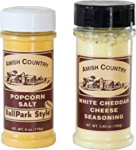 product image for Amish Country Popcorn | Seasoning Variety Pack | BallPark Style Buttersalt - 6 oz and White Cheddar Cheese - 3.8 oz | 2 Pack Popcorn Seasoning | Old Fashioned with Recipe Guide