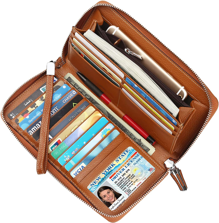 Dante Women's RFID Blocking Real Leather Zip Around Wallet Clutch Large Travel Purse Wristlet(Large Size Pebble Brown)