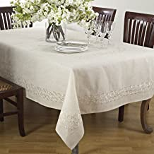 """SARO LIFESTYLE Swirling Collection Table linen, 67"""" x 160"""", Natural"""